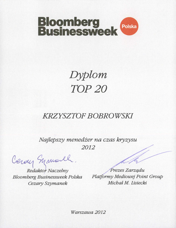 OSG's CEO receives Bloomberg Poland's TOP 20 best managers award certificate